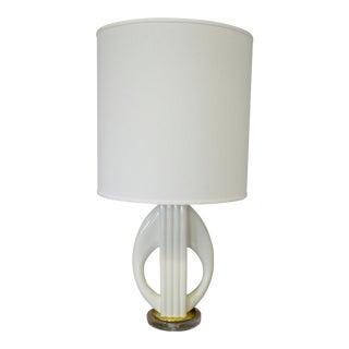 White Porcelain & Lucite Lamp For Sale