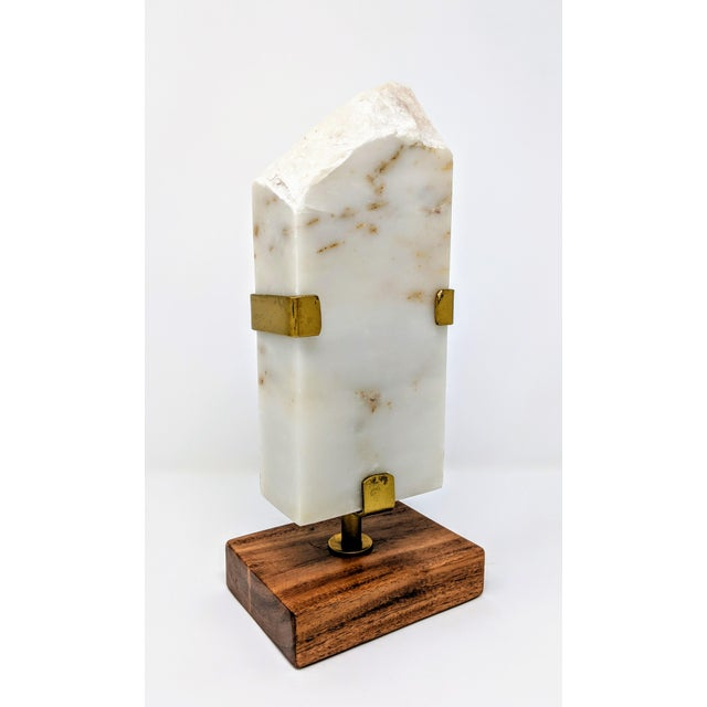 White Marble, Brass and Wood Sculpture For Sale In Providence - Image 6 of 11