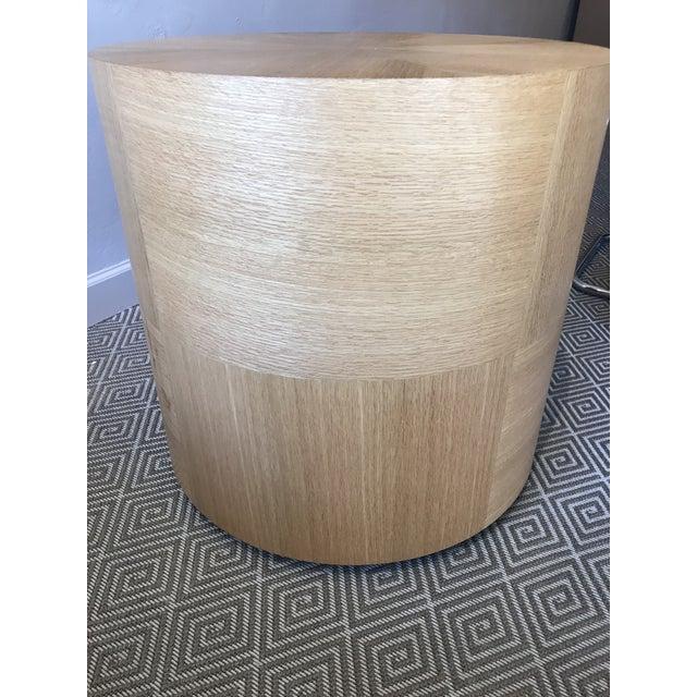 Custom Round Wood Drum Table - Image 3 of 6
