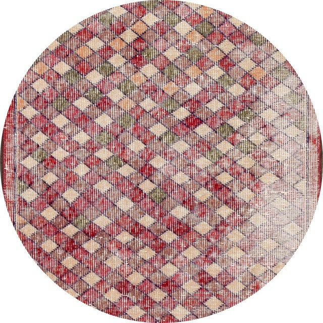 Beautiful Vintage Turkish Art Deco Runner Rug, hand-knotted wool with a red and tan field, multicolor accents in a...
