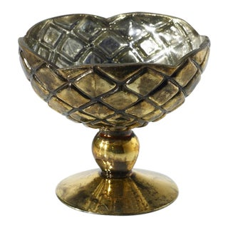 French Contemporary Gold Honeycomb Compote For Sale
