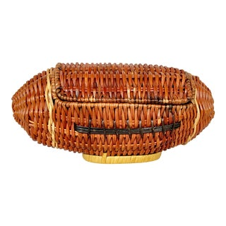 Vintage Wicker Football Basket For Sale