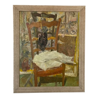 Late 20th Century French Interior Oil Painting, Framed For Sale