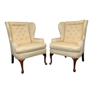Vintage Button Tufted Queen Anne Wing Back Chairs - Pair For Sale