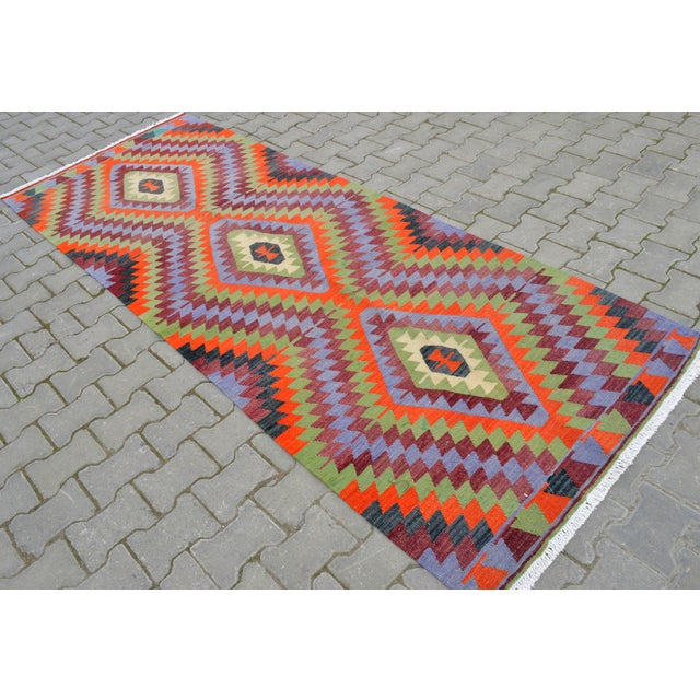 "Handmade Turkish Kilim Runner - 3'8"" X 9'8"" - Image 4 of 10"