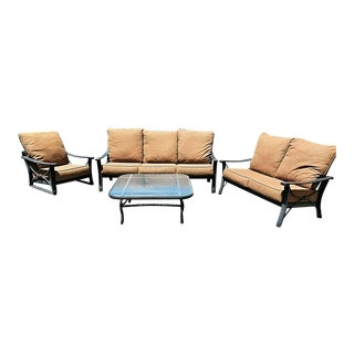 Cast Aluminum Outdoor Patio Furniture by Mallin - Set of 4 For Sale