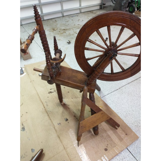 Farmhouse 19th Century Wooden Spinning Wheel For Sale - Image 3 of 4