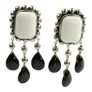 Artisan Black & White Runway Dangle Earrings Vintage For Sale