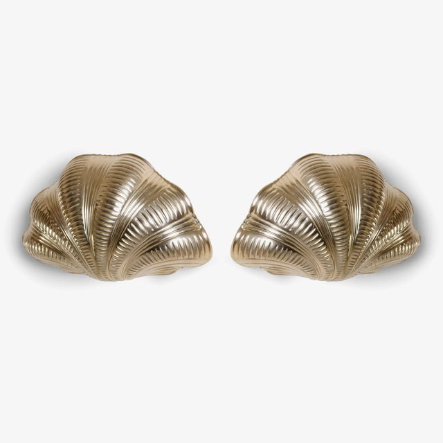 Hollywood Regency Italian Solid Brass Scallop Design Sconces - A Pair For Sale - Image 3 of 6