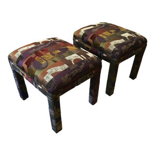 Upholstered 1990s Parsons Ottoman Foot Stools -A Pair For Sale