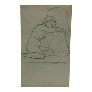 """Vintage Original Drawing on Paper, """"Resting With Bare Breasts"""" by Tom Sturges Jr., Circa 1945 For Sale"""