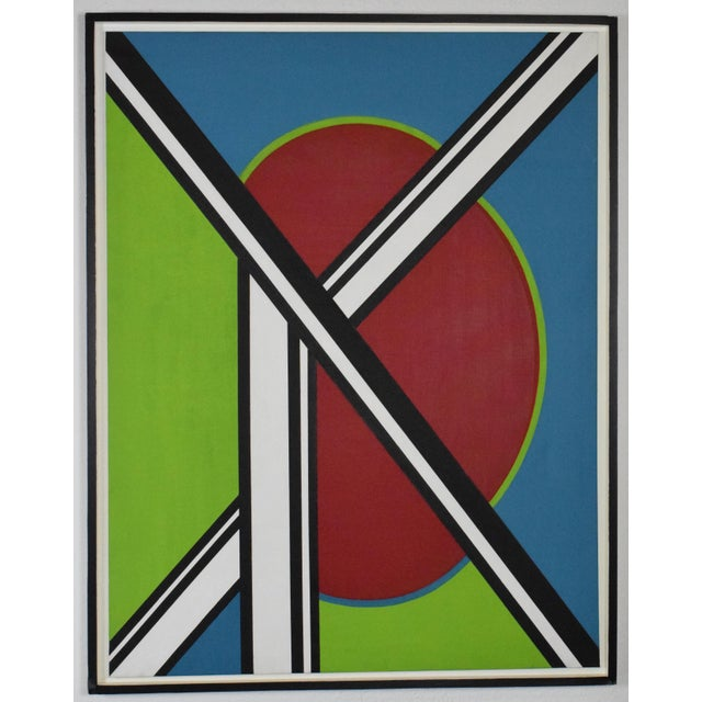 early 20th Century Mondrian Style Geometric Acrylic Painting For Sale - Image 4 of 8