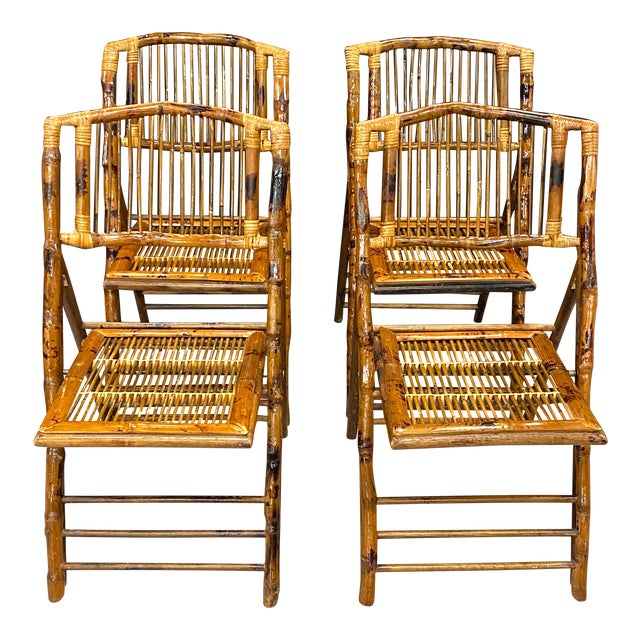Stunning Set of 4 Vintage Mid Century Modern Tortoise Bamboo Folding Chairs For Sale
