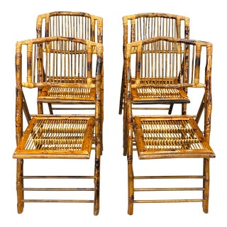 Stunning Set of 4 Vintage Tortoise Bamboo Folding Chairs For Sale