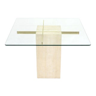 Square Travertine Marble Pedestal and Brass Glass Top Dining Game Table For Sale