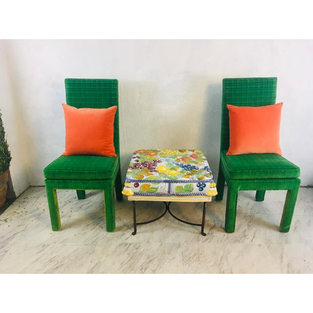 Italian Ceramic Garden Seat With Iron Base For Sale - Image 10 of 12