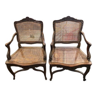 Late 19th Century Antique French Walnut Arm Chairs- A Pair For Sale