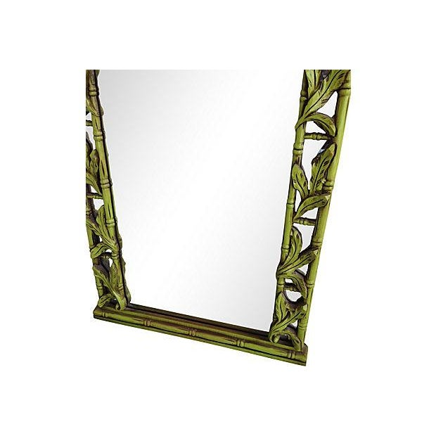 Green Serge Roche-Style Palm Bamboo Mirror - Image 3 of 4