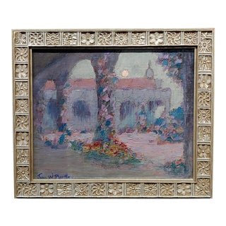John William Bentley-Moonlight at Mission Capistrano-Oil Painting -C. 1920s For Sale