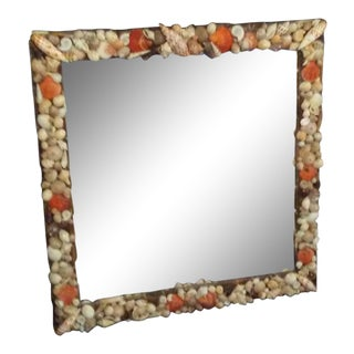 Orange Brown and White Natural Sea Shell Square Mirror For Sale