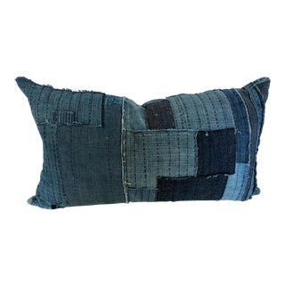 Custom Pillow Cut From an Antique Japanese Indigo Boro Textile For Sale