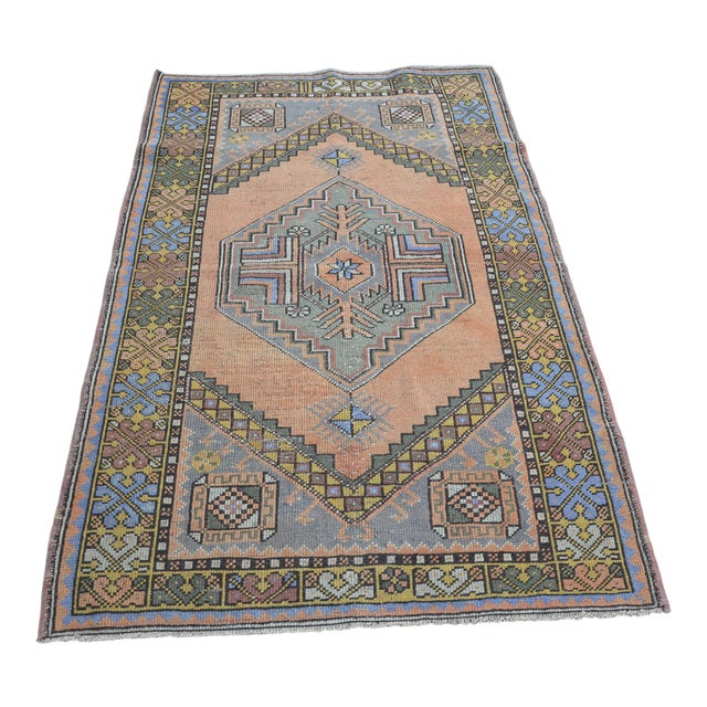 Turkish Oushak Antique Wool Rug - 3′6″ × 5′6″ For Sale