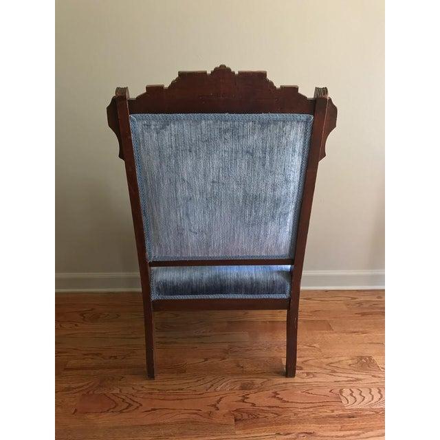 Blue Velvet Eastlake Chair For Sale In Atlanta - Image 6 of 9