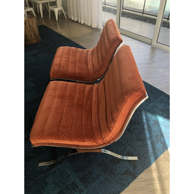 1970s Mid Century Modern Barcelona Style Chairs by Selig- A Pair For Sale - Image 5 of 6