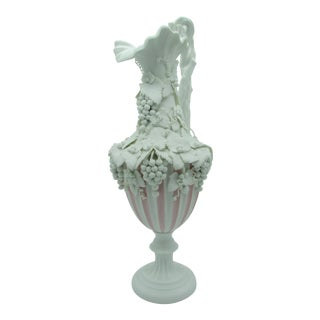 Antique Late 19th Century Large English Parian Ware Ewer With High Relief Grapes & Vines For Sale