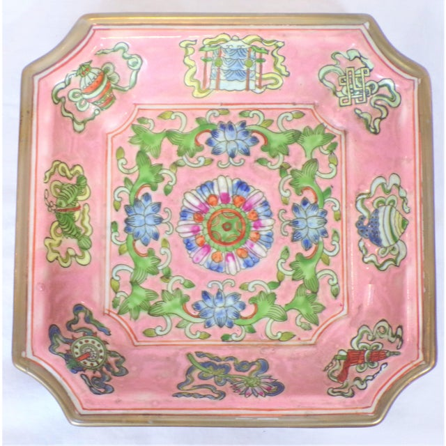 Chinese Export Porcelain Decorative Blush and Caledon Catchall Dish For Sale - Image 4 of 9