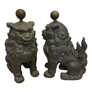 1970s Vintage Metal Chinese Foo Dogs - a Pair For Sale