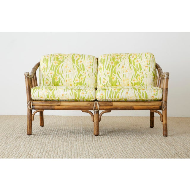 Contemporary McGuire Organic Modern Bamboo Rattan Settee Loveseat For Sale - Image 3 of 13