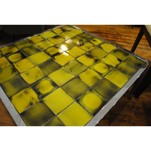 Tile and Chrome Danish Modern Coffee Table - Image 5 of 8