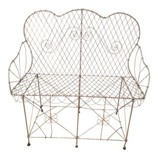 Victorian Wire Garden Settee or Bench For Sale