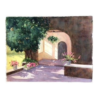 Original Vintage Impressionist Architectural Landscape Watercolor Painting Signed 1970's For Sale