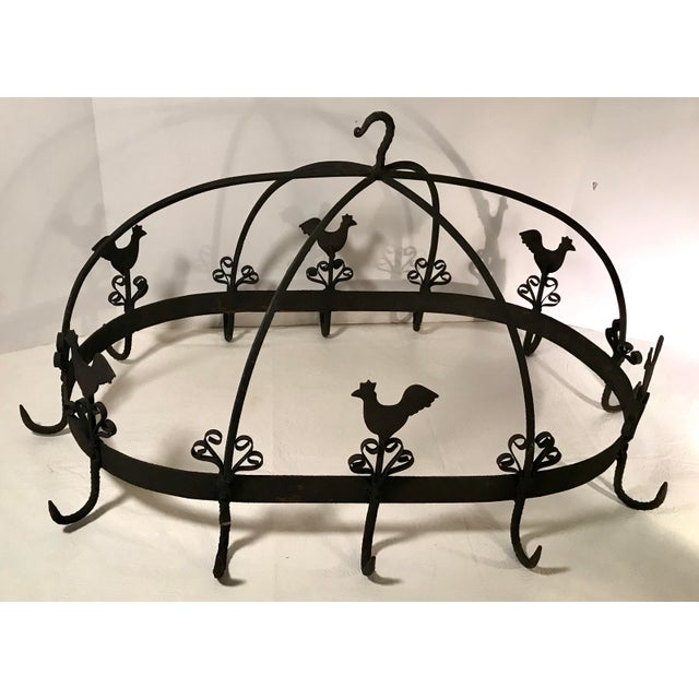 French 20th Century French Country Black Iron Pot Rack For Sale - Image 3 of 11