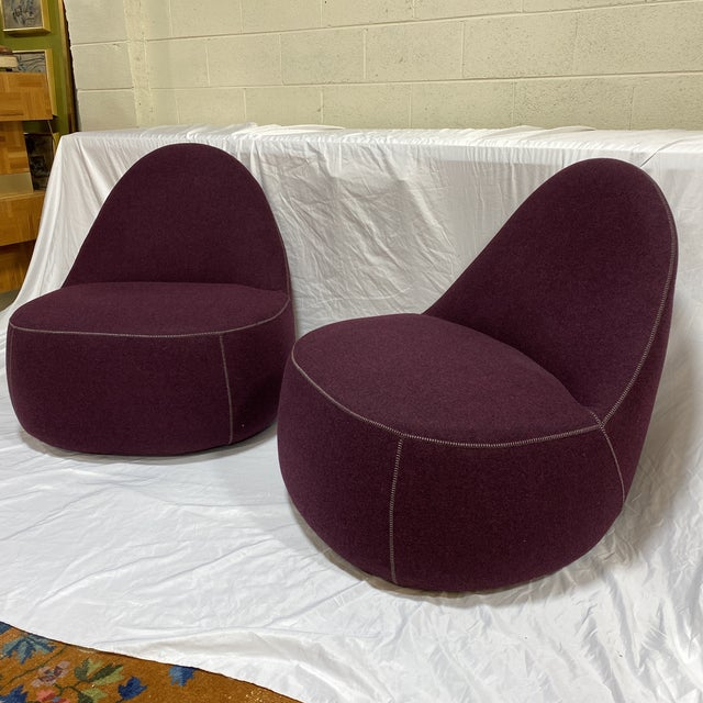 Bernhardt Contemporary Plum Club Chairs - Pair For Sale - Image 13 of 13