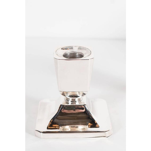 Metal Gorgeous Pair of Art Deco Customizable / Adjustable Sterling Silver Candlesticks For Sale - Image 7 of 11