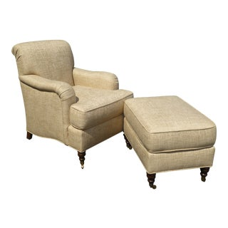 Restoration Hardware Style Beige Linen Blend Accent Chair & Ottoman