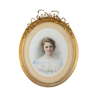 """19th Century French """"Portrait of Girl"""" Painting For Sale"""