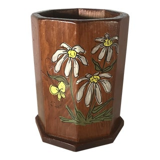 Country Hand Painted Wooden Pencil Holder For Sale