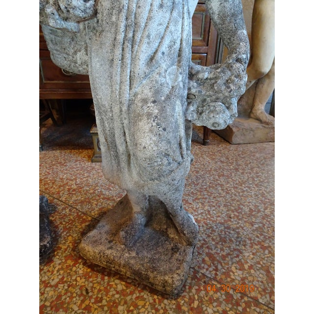 Stone Pair of Vintage French Stone Statues For Sale - Image 7 of 13
