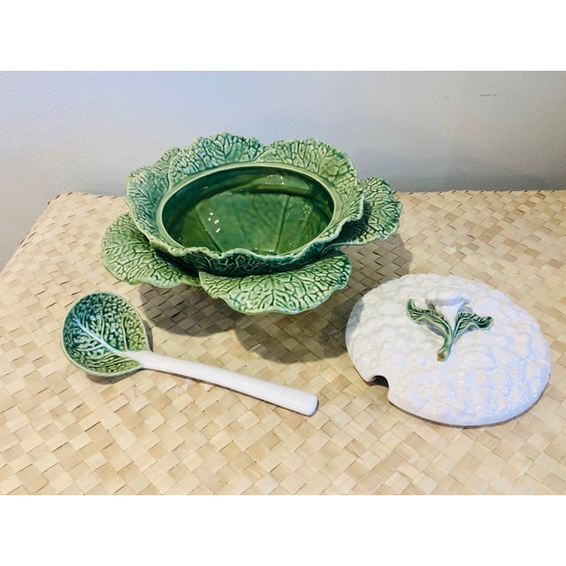 Majolica Majolica Cauliflower and Cabbage Design Soup Tureen For Sale - Image 4 of 8