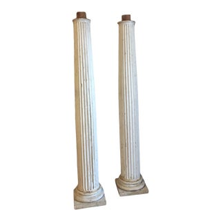 "Antique Architectural Tall 47"" Tuscan Wooden Tapered Columns - a Pair For Sale"