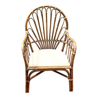 1970s Boho Chic Bamboo Fan Back Accent Chair For Sale