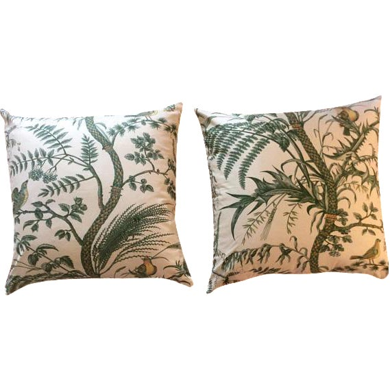 Brunschwig & Fils Bird and Thistle Green Pillow Covers - a Pair For Sale