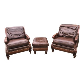Hancock & Moore Leather Loungers With Ottoman- Set of 3 For Sale