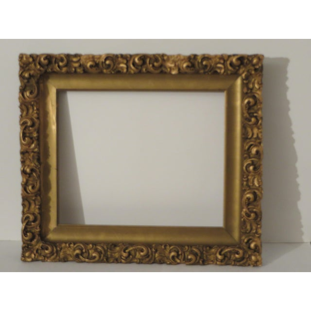 Antique Wood Gesso Gold Gild Picture Frame for Painting or Mirror For Sale - Image 9 of 9