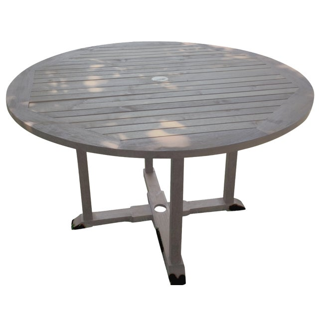 Outdoor Round Teak Table - Image 1 of 4