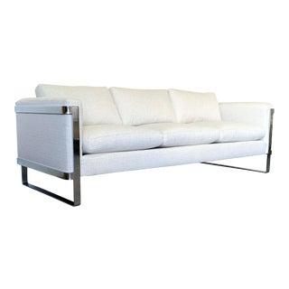 Milo Baughman Style Flat Bar Chrome Frame Sofa For Sale